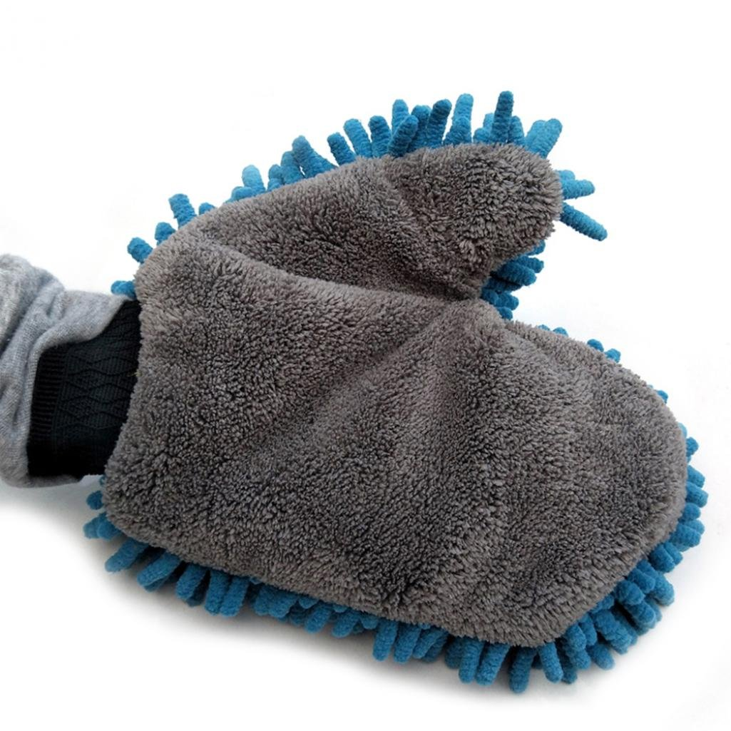 Bodhi2000 House Cleaning and Car Washing Gloves, Home Dusting Microfiber Mitts, Wash Clean Polish Faster (Sky Blue)