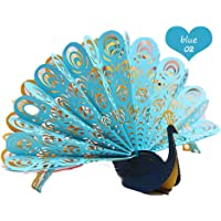 ZHUOTOP Peacock Card, 3D Card, Birthday Card, Valentine's Card, Springtime Card, Handmade Pop up Card