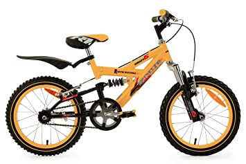Kids Mountain Bike 16 Inch Krazy Full Suspension Yellow Ks Cycling