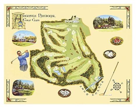 Laminated Golf Course Map, Augusta Art Print By Bernard Willington 17 X 13in