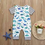 Fartido Romper Baby Girl Boy Cartoon Dinosaur Print Romper Jumpsuit Outfits White