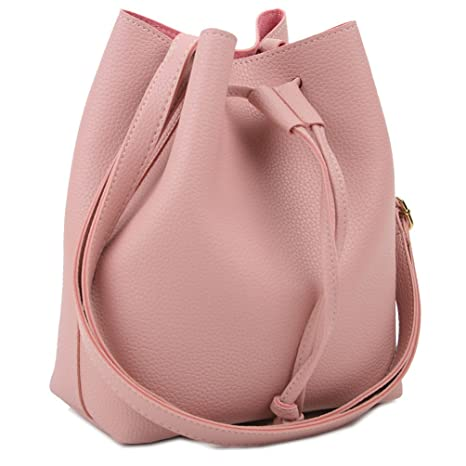 Buy Copi Women s Everyday Bucket Bag   Cute Feminine of Drawstring  Crossbody Small Bags Pink Online at Low Prices in India - Amazon.in 84d973b68c8ef