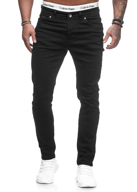 Code47 Herren Designer Chino Jeans Hose Basic Blau/Schwarz/Grau Stretch Jeanshose Skinny Fit W28-W36