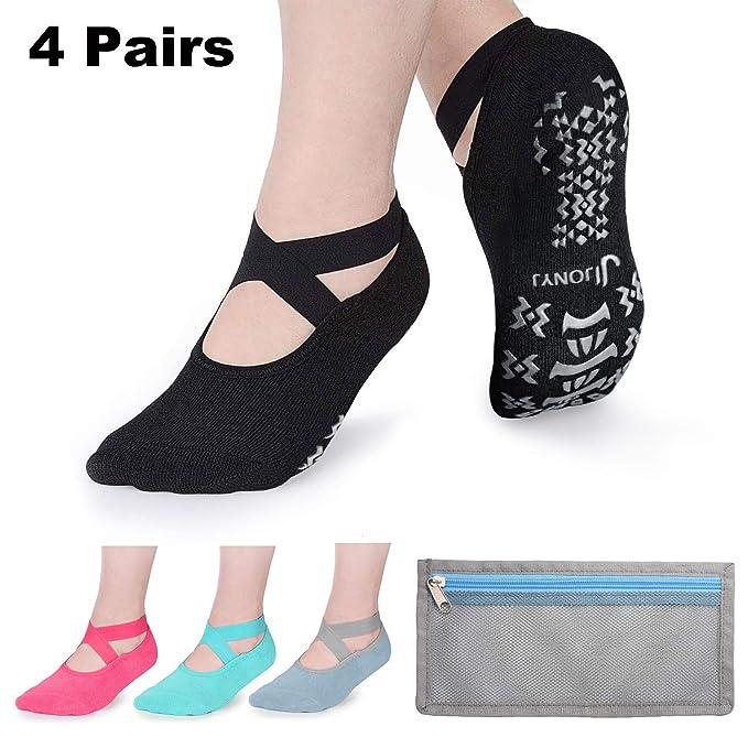 JONYJ Yoga Socks for Women Non-slip Socks with Grips Ideal for Pilates Ballet Dance Barre Barefoot Workout-4 Pairs