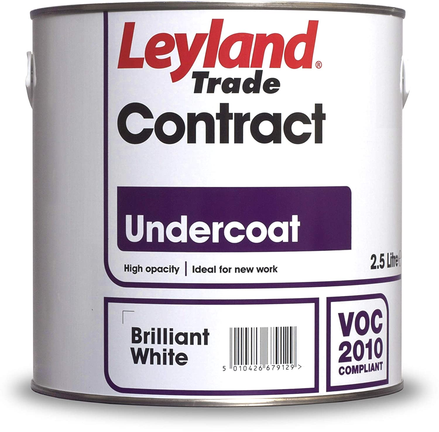 Leyland Trade 300875 Contract Primer Undercoat, Brilliant White, 2.5 PPG