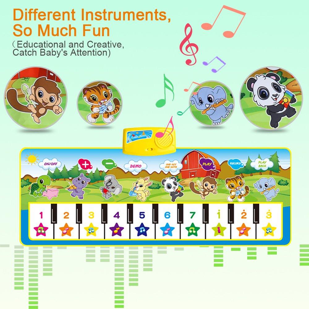 BelleStyle Alfombra Musical Musical Canto Teclado Estera de Alfombra Beb/é Ni/ño Actividad Juego De Gimnasio Colchonetas Alfombra Animal para El Regalo del Beb/é Azul