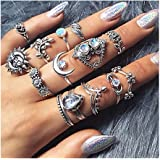 Edary Vintage Ring Set Carved Knuckle Rings Crystal Gemstone Stackable Rings Finger Mid Ring Set for Women and Girls