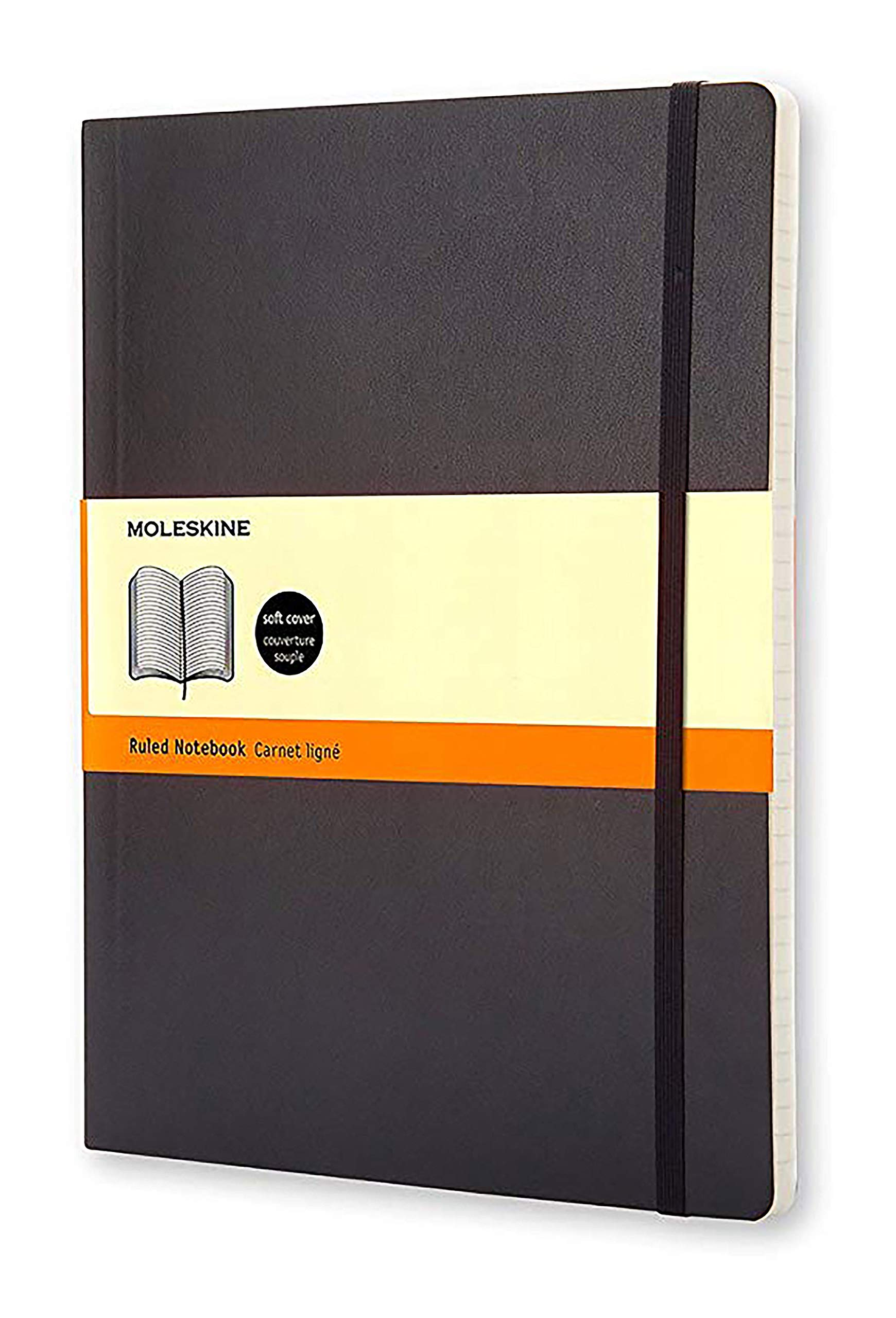 Moleskine Classic Notebook, Soft Cover, XL (7.5'' x 9.5'') Ruled/Lined, Black by Moleskine