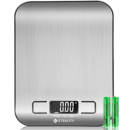 ETEKCITY Báscula Digital de Cocina, báscula electrónica de 5 kg con Gran Pantalla LCD, báscula de Cocina Ultrafina de Acero Inoxidable, medición de ...