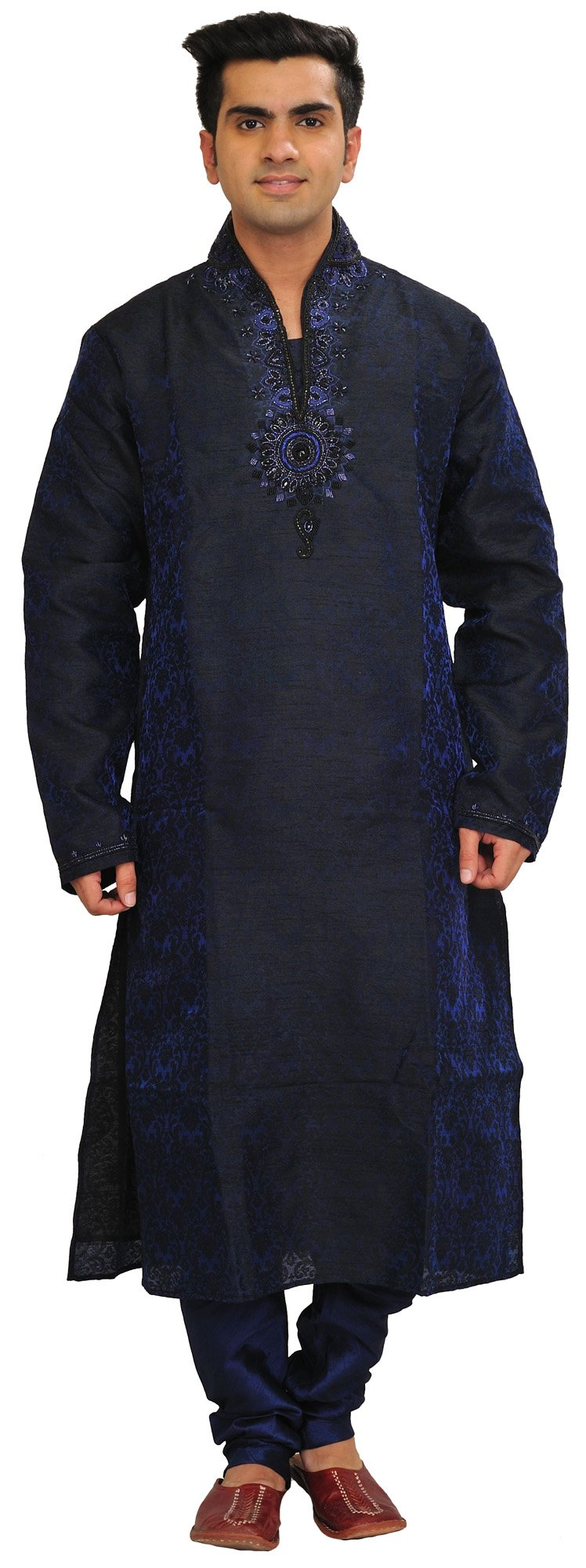 Exotic India Patriot-Blue Self Weave Wedding Kurta Paja Size 42