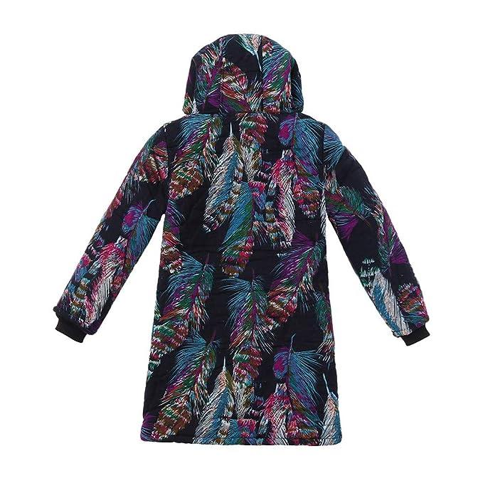 Yvelands Mujer Invierno Cálido Outwear Estampado Floral Bolsillos con Capucha Abrigos de Gran Tamaño Vintage Tops