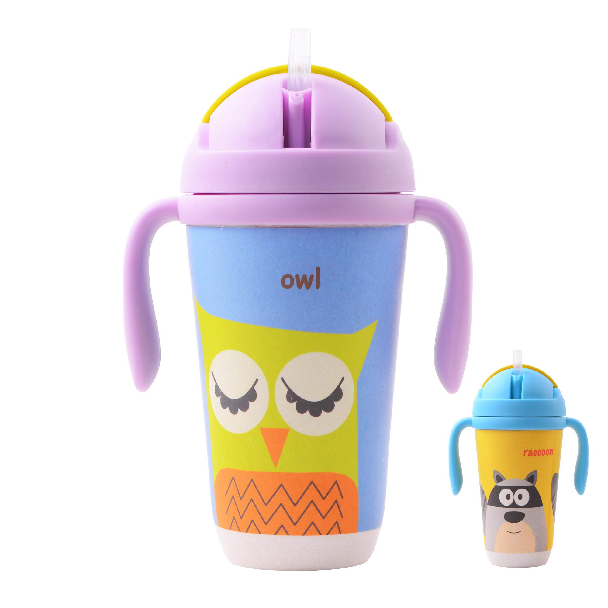 Bamboo Kids Straw Cup, Kids Cups with Lids and Straws, Bamboo Toddler Cups, Bamboo Fiber Drinking Cups, Eco Friendly drinkware for Kids, Bamboo Kids Cups for Everyday Use, Owl Design (Yellow, Blue)