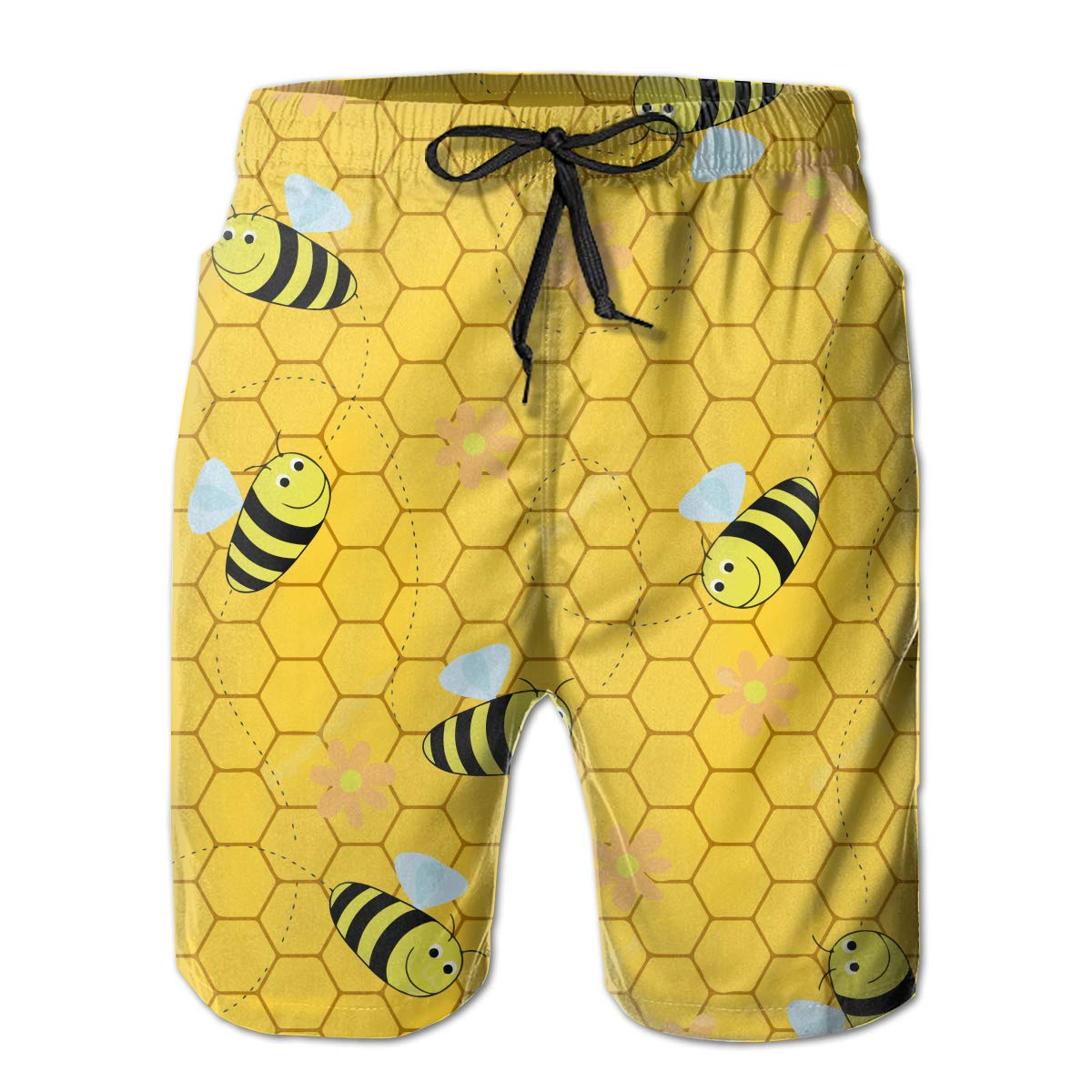 MikonsuBees Honeybees Honeycomb Cute Beehive Mens Colorful Swim Trunks Beach Board Shorts with Lining