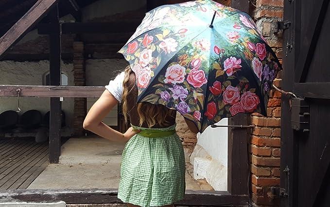 VON LILIENFELD Paraguas automático con motivo/motivo floral Jardín de rosas: Amazon.es: Equipaje
