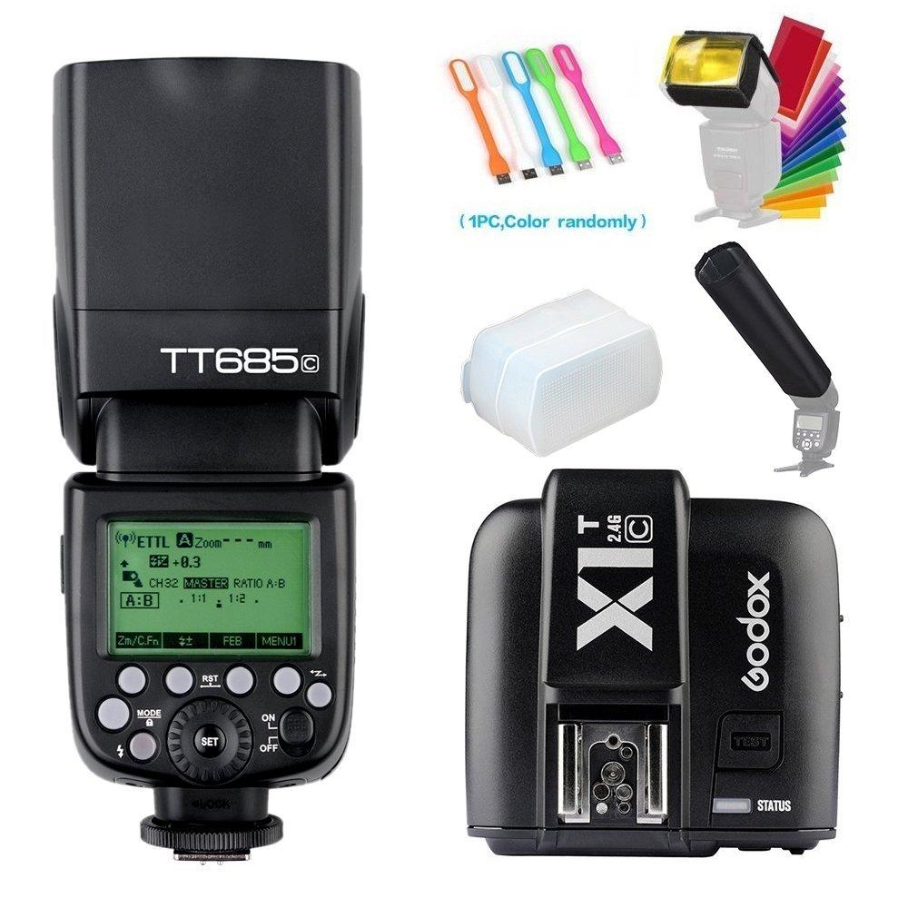 Godox TT685C E-TTL 2.4GHz GN60 High-Speed Sync 1/8000sMaster Slave HSS Flash Speedlite Speedlight+X1T-C Wireless flash Trigger Transmitter for Canon Cameras +Diffuser &Filter&Snoot+USB LED Free gift by Godox