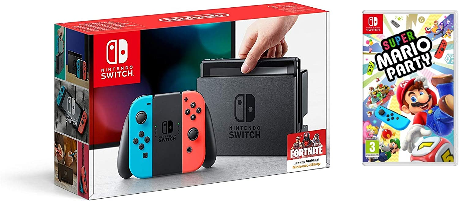 Nintendo Switch - Consola, Color Azul Neón/Rojo Neón + Super Mario ...