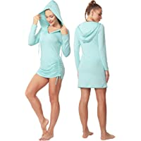 Cakulo Women's UPF 50+ Sun Protection Cover Up Dress Long Sleeve Shirt Hiking Beach with Hoodie