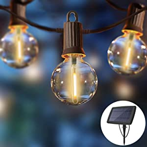 ZOTOYI 27FT Solar Outdoor String Lights, G40 Globe String Lights with 12+1 0.2W LED Filament Bulbs, Waterproof IP65 Patio Lights for Backyard Tents Garden Porch Gazebo Cafe, 2200K Warm White