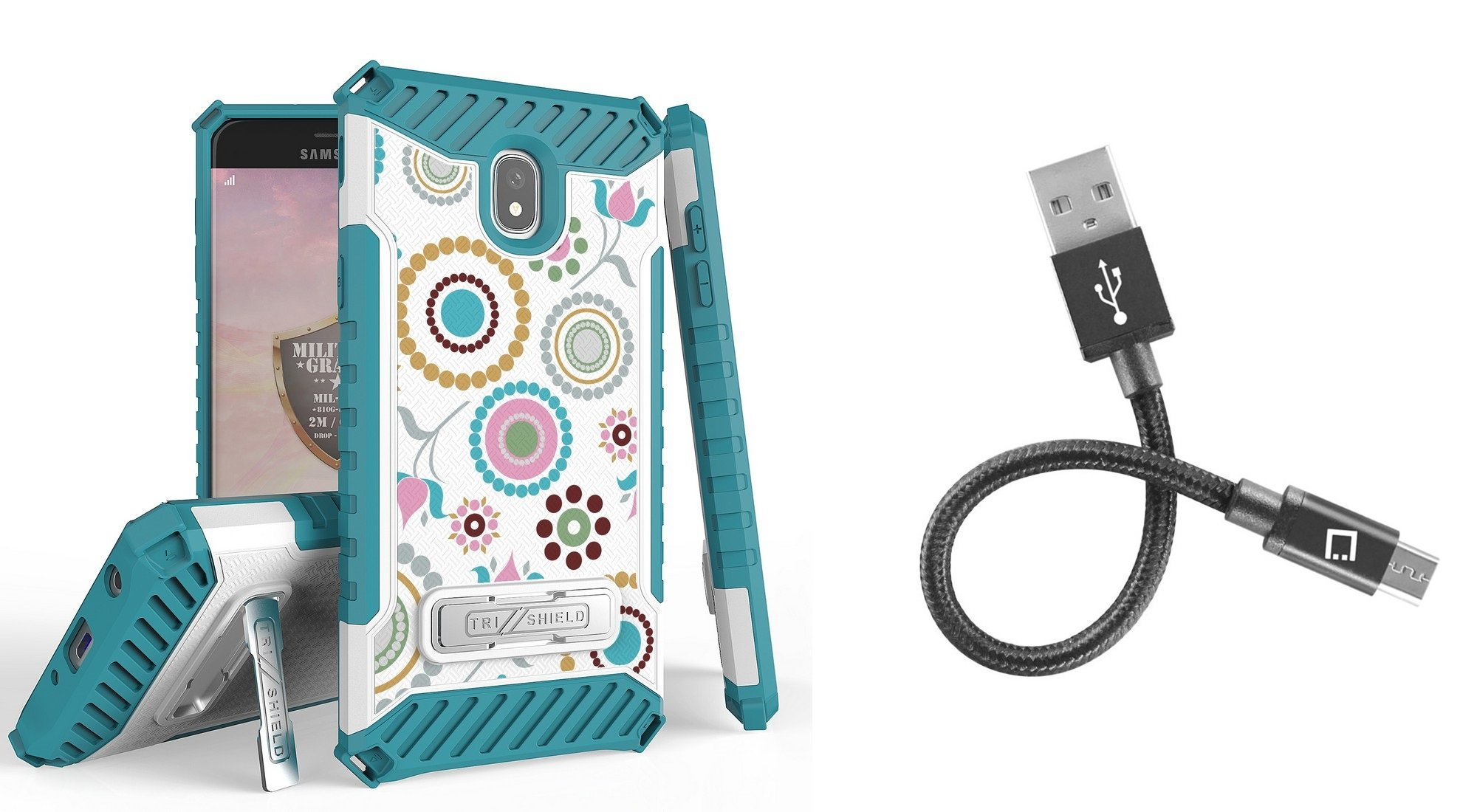 Beyond Cell Tri Shield Military Grade Kickstand Case (Circle Collage) with Short Nylon Braided USB-A to Micro USB Cable (4 inches) and Atom Cloth for Samsung Galaxy J7/J7 V 2nd Gen 2018