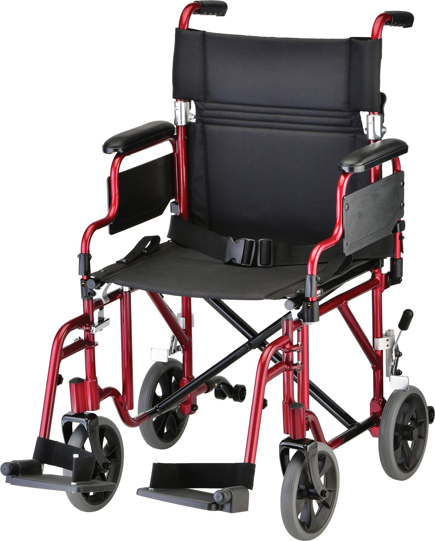 NOVA Lightweight Transport Chair with Removable & Flip Up Arms for Easy Transfer, Anti-Tippers Included, Red by NOVA Medical Products