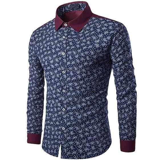 Bestow Camisa Casual de Manga Larga para Hombre Slim fit Estampada Blusa Estampada Top Tendencia Trend Print Contrast British: Amazon.es: Ropa y accesorios