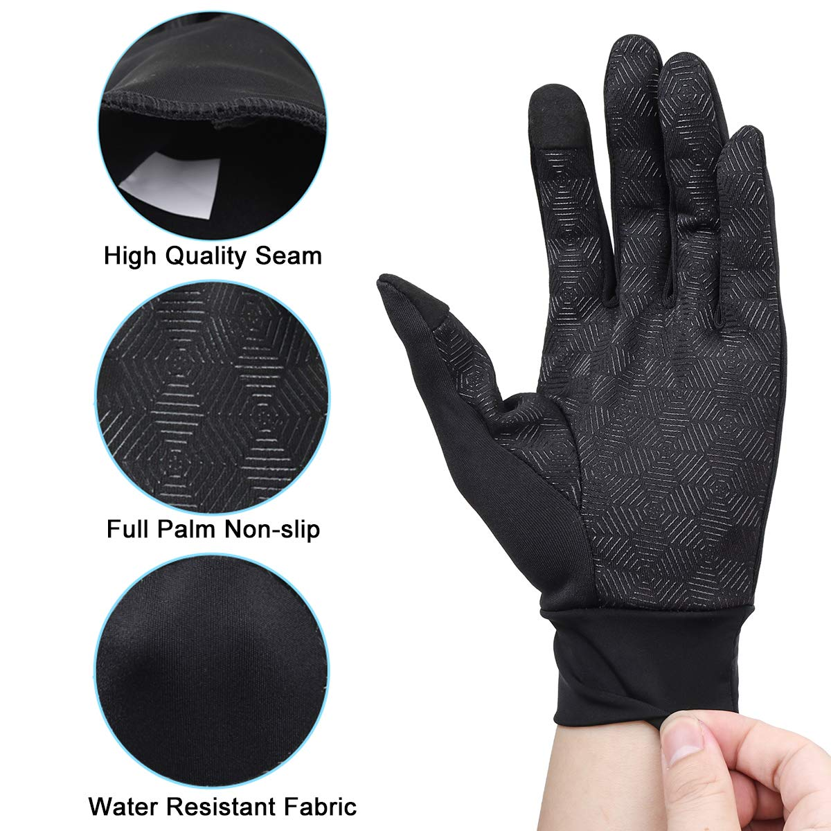 Winter Gloves,Touch Gloves Screen Touch Gloves Touch Screen Gloves Texting Glvoes Running Gloves Cycling Gloves Driving Gloves for Men and Women by FTEOX (Black-Medium)
