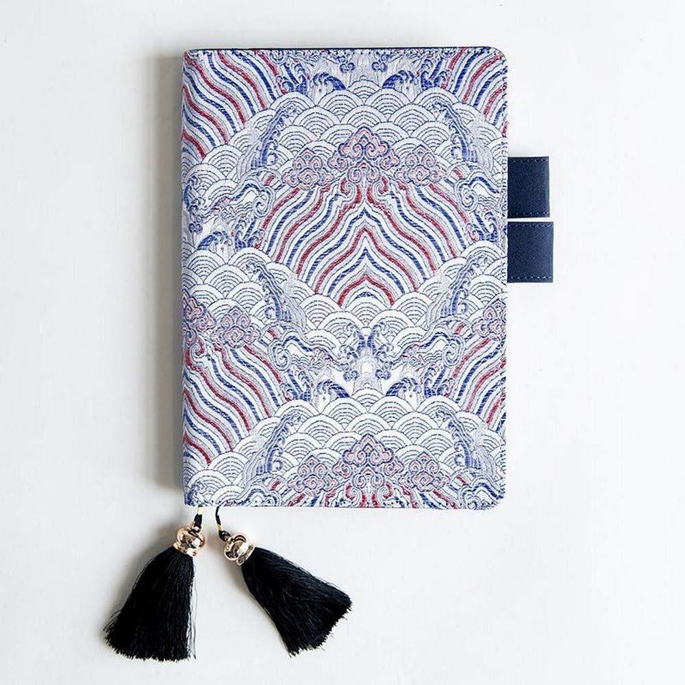 Embroidered Cover Notebook,PU Travel Journal Diary Writing Planner Notepad with Card Slot and Pen Slot,Tassel Bookmark (Color : D, Size : Horizontal line -Lattice-A5)