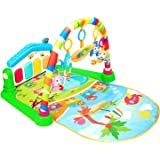 Christoy Baby Kick and Gym Play Mat Lay & Play 3 in 1 Fitness Music and Lights Fun Piano Activity Mat Infant Newborn Toys Gir