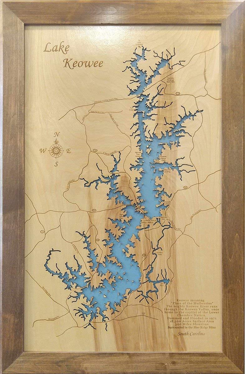 map of lake keowee Amazon Com Lake Keowee South Carolina Framed Wood Map Wall map of lake keowee