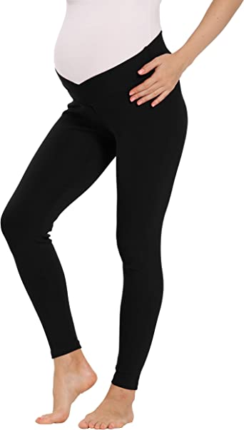 V VOCNI Womens Maternity Yoga Pants High Waist Workout Capri Leggings Sports Running Active Tights with Side Pocket