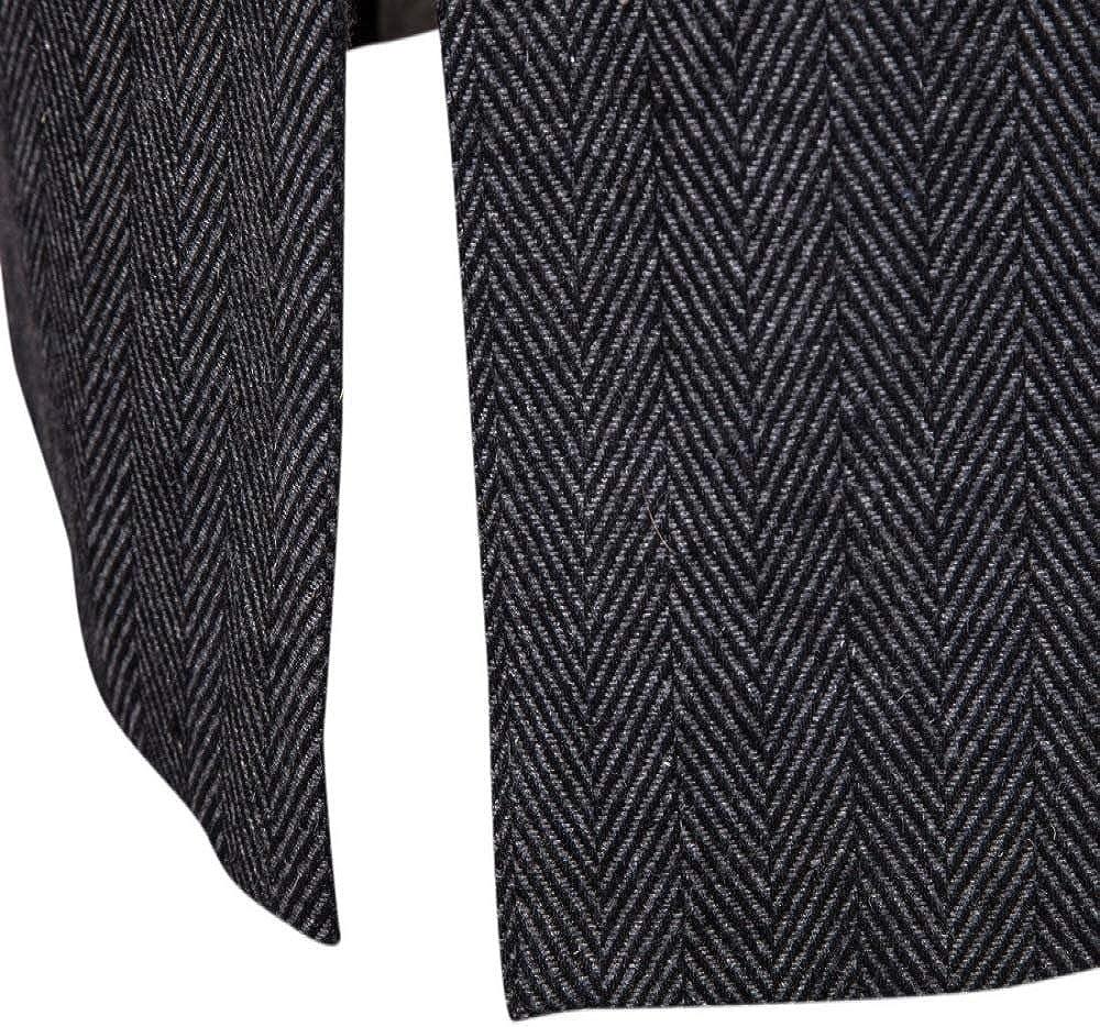 CFWL Manteau Homme Trench-Coat Mi-Long Faux Deux PièCes en Laine Chemise HawaïEnne pour Homme Funky Casual Button Coupe DéContractéE, pour Homme Impression Chemise Hip Hop Gris