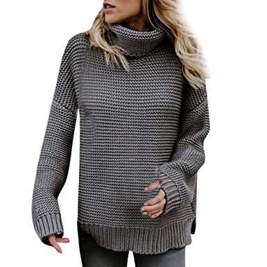 HOOUDO Womens Sweater Autumn Winter Warm Fashion Casual Solid Long Sleeve Loose  Turtleneck Knitted T- 3600cb7c5