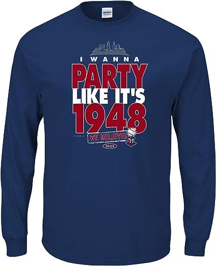 Sm-5X I Wanna Party Like Its 1948 Navy T Shirt Smack Apparel Cleveland Baseball Fans