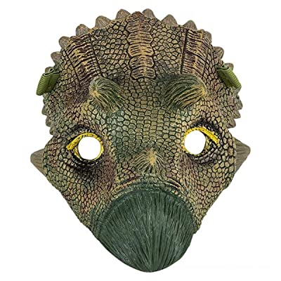 Dinosaur Mask for Kids, Animal Face Mask, Dino Toys, Jurassic World Party Supplies, T-Rex, Triceratops, Iguanodon, Great for Halloween, Playtime, Cosplay, Realistic Features (Triceratops): Clothing