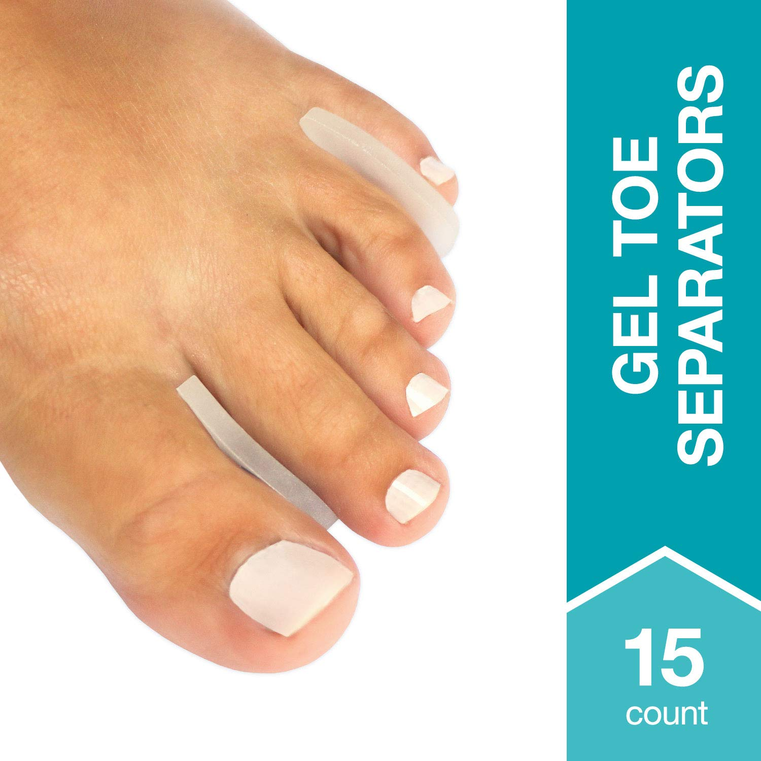 Steins Gel Toe Spacers, Callus Pads, Gel Toe Separators, Fits Small to Medium Toes, Clear, 15 Count by Steins