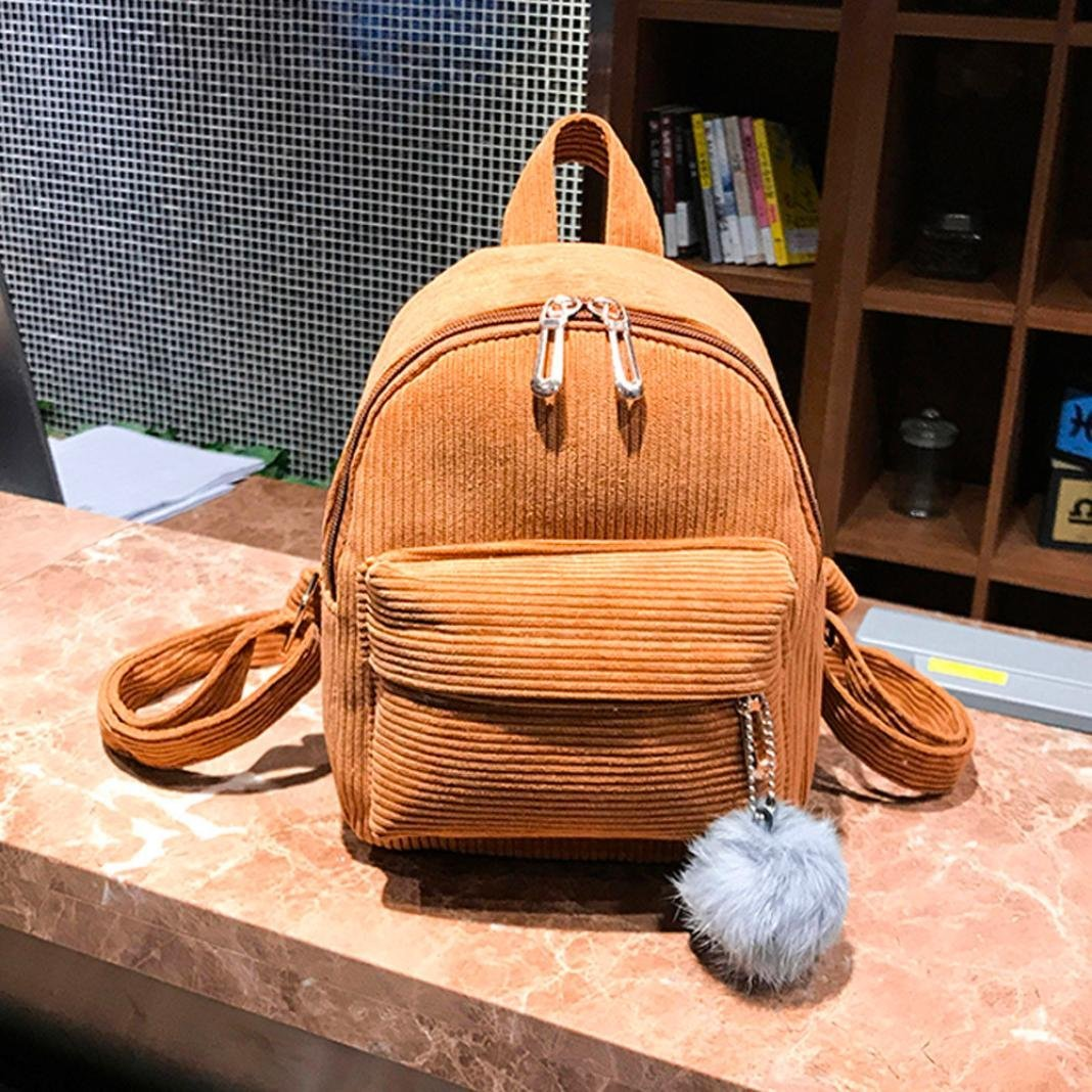 Pocciol Women Love Backpack, Girl Women Casual Corduroy School Bag Satchel Student Travel Shoulder Bag (Brown) by Pocciol (Image #2)