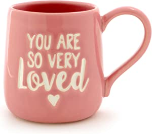 "Enesco Our Name Is Mud ""You Are Loved"" Stoneware Engraved Coffee Mug, 16 oz, Pink"