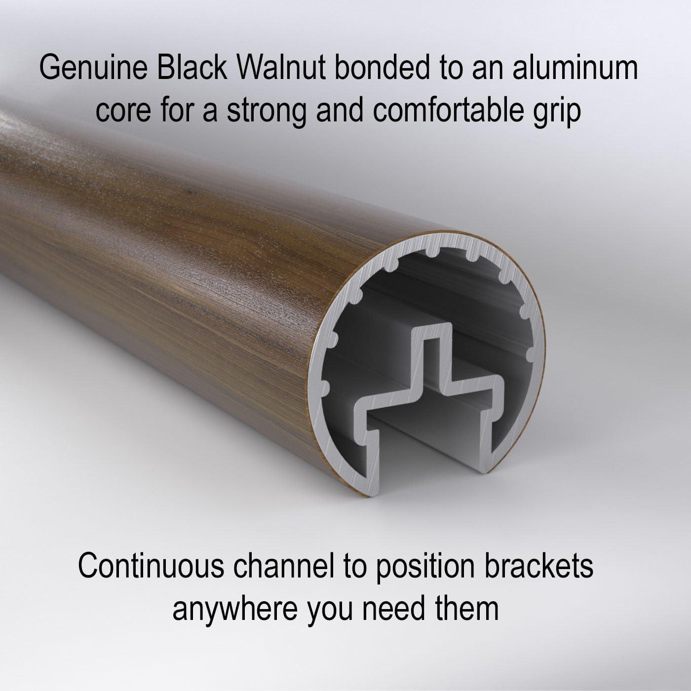 "1.6 Round Handrail 4 ft Genuine Black Walnut bonded to Aluminum core 3 Antique Brass Brackets TOTAL LENGTH: 53/"" Complete Kit ADA Wall Return Endcaps"