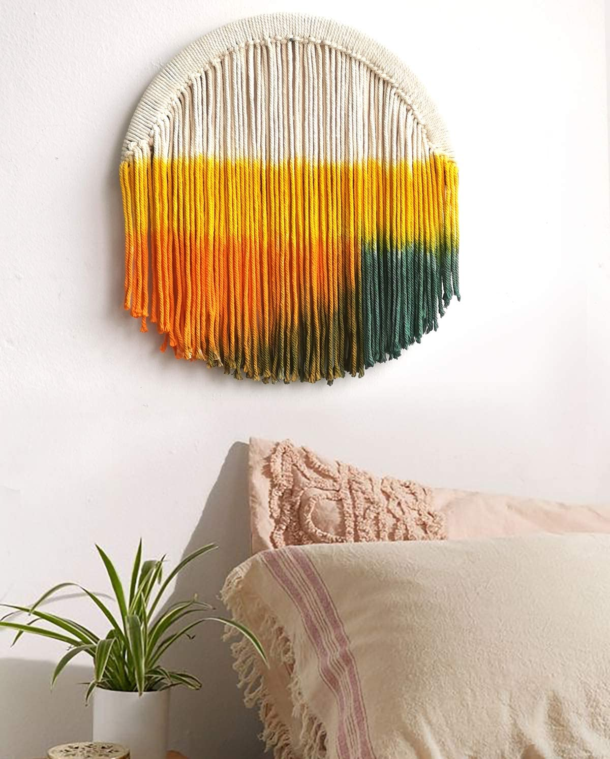 FLBER Macrame Wall Hanging Dip Dyed Circle Hoop Yarn Tapestry Gypsy Home D cor,13.7 Diameter