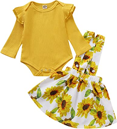 Toddler Kids Baby Girl Floral Off Shoulder Ruffle Jumpsuit Romper Outfits Set