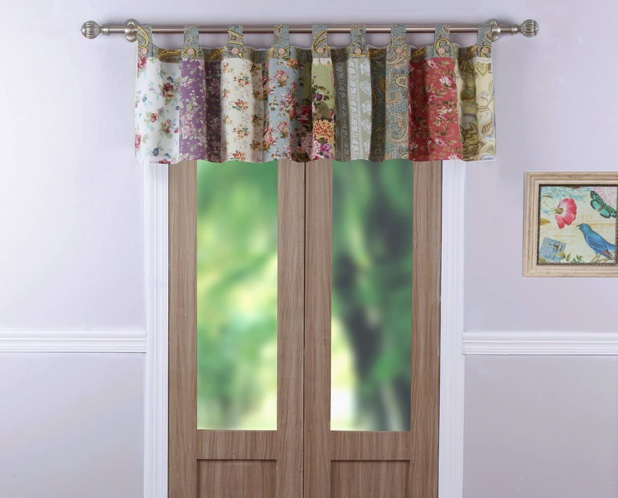 Country Cottage Floral Print Patchwork Pattern Yellow Blue Green Tab Top Window Valance