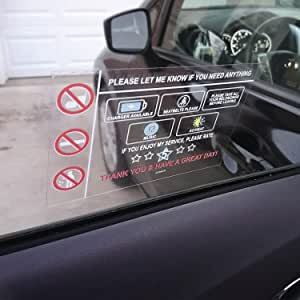LOTUS-A Rideshare Accessories Rating No Tips Required Sign - Rideshare Accessories 3 Window Cling Reusable Removable for Taxi Driver Car Decal Stickers Rideshare Rider Automotive Accessories