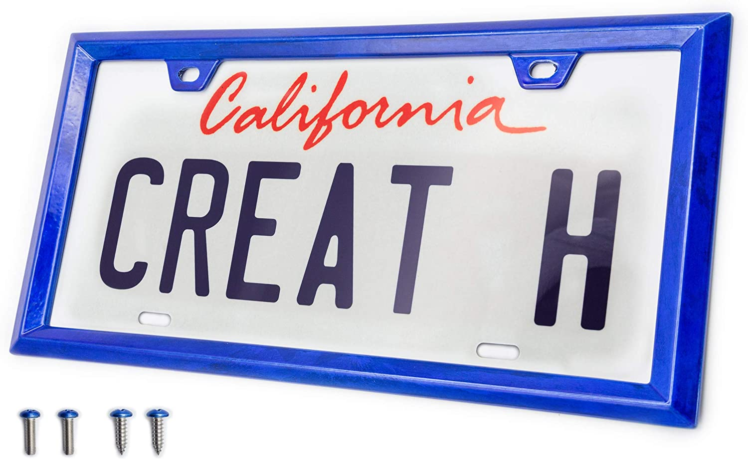 creathome 3D Modern Triangle Shining Red License Plate Frame with Zinc Alloy Metal