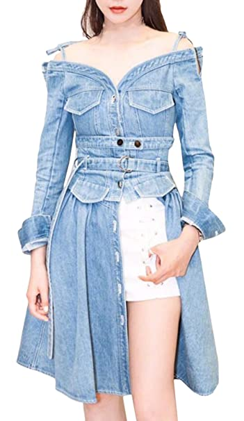 Scothen Pantalones Vaqueros Mujeres Faldas de Manga Larga Slim Denim Jeans Mini Vestido de Fiesta Jeans