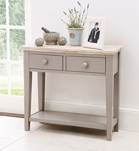 Florence Console Table With 2 Drawers And Shelf, Solid Dove Grey Console  Table, Hall Table With Beautiful Limed Top. QUALITY: Amazon.co.uk: Kitchen  U0026 Home