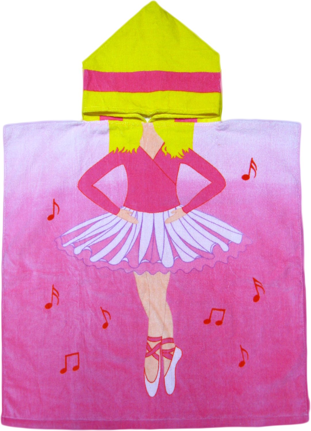 Kreative Kids Ballerina 100% Cotton Poncho Style Hooded Bath & Beach Towel with Colorful Double Sized Design T6513