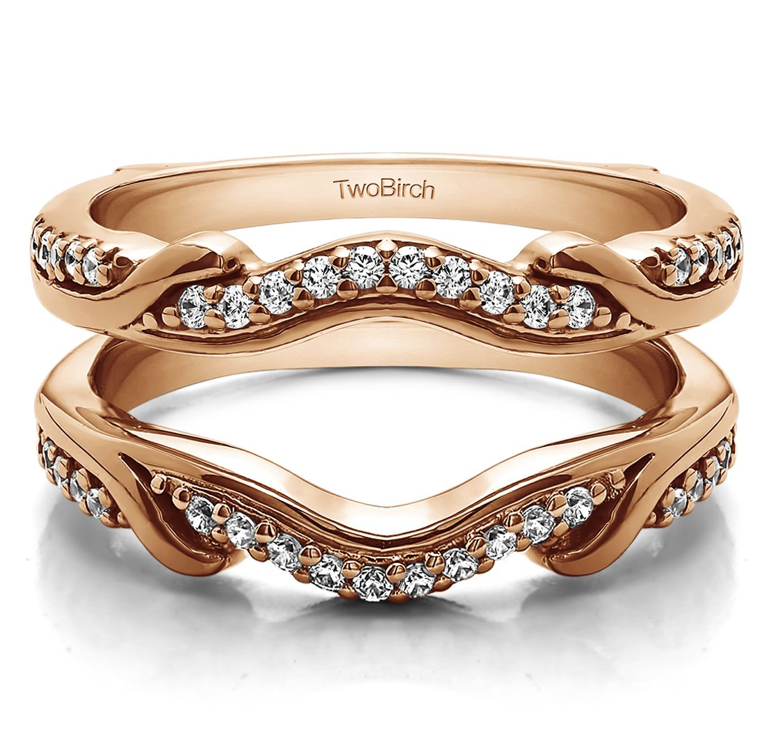0.26 ct. Diamonds (G-H,I2-I3) Contoured Wedding Ring Jacket in Rose Gold Plated Sterling Silver (1/4 ct. twt.)