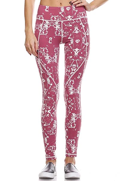 Mono B Womens Perfomance Printed Active Leggings (Small ~Large)