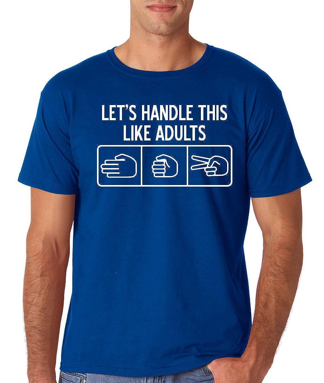 Amazon.com: AW Fashions Lets Handle This Like Adults Rock Paper Scissors Retro Premium Mens T-Shirt: Clothing