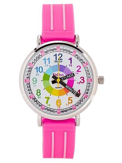 Gummi Uhr Die Quarz Kinder Lernen Kiddus Wasserdicht Analog Uhrzeit Mädchen Armband 0mNnw8